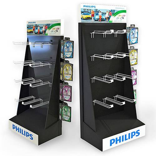 Recycled Cardboard Floor Display Paper Hook Display Stand for Philips