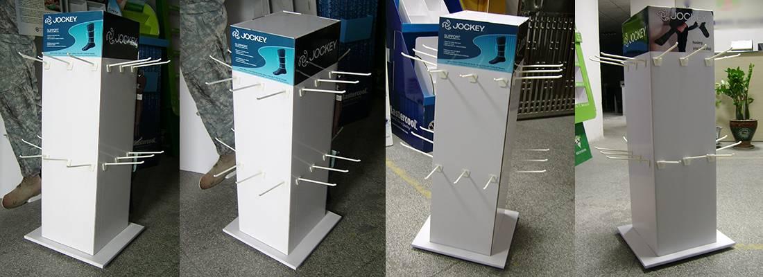 Jockey Men's Socks 4 Sided Cardboard Peg Hooks Display Stand