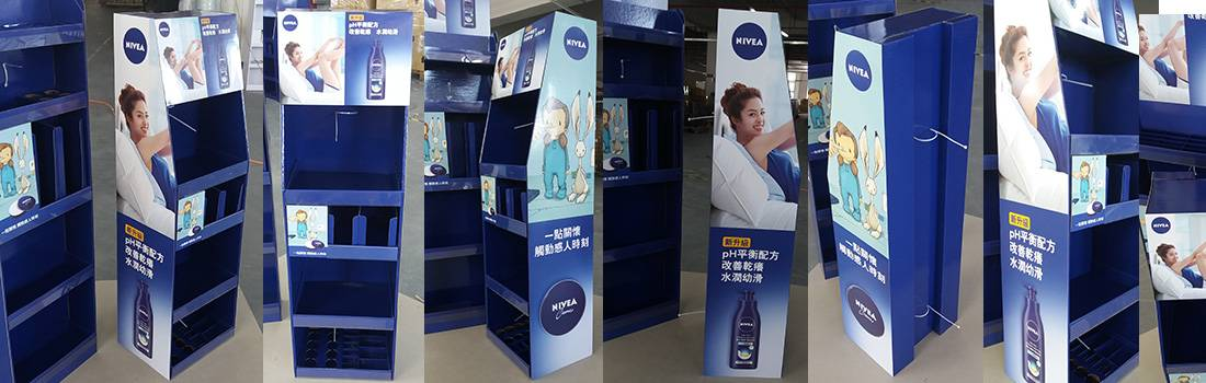 Nivea custom cardboard floor displays