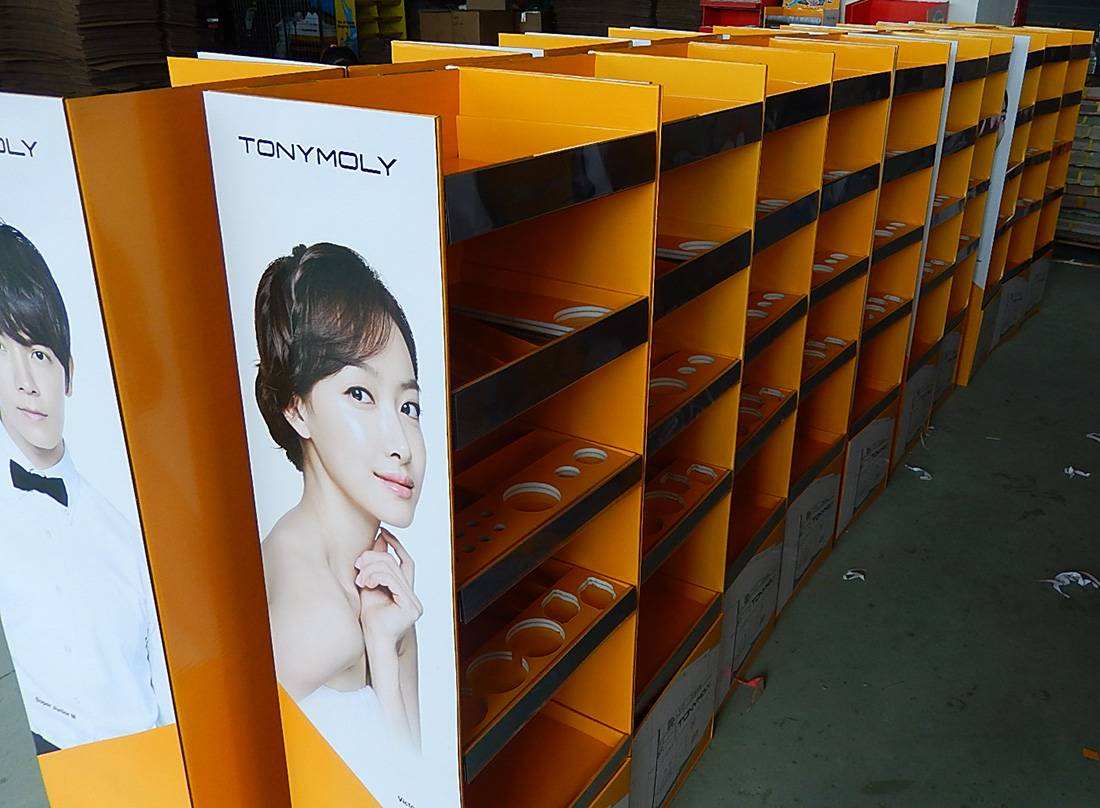 TonyMoly Korean Cosmetics Cardboard Floor Display Stand