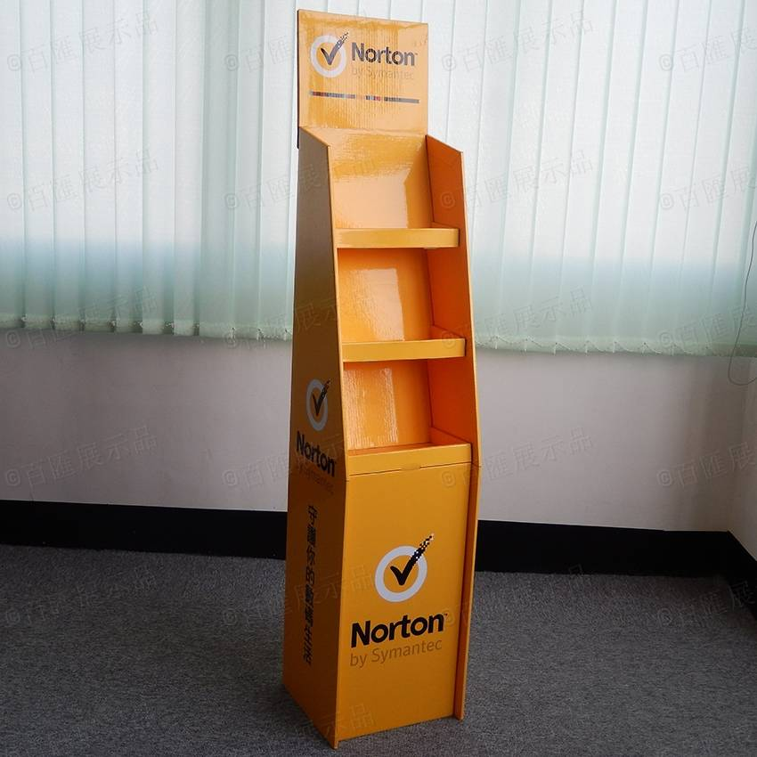 Cardboard Advertising Floor Display Stand for Norton AntiVirus