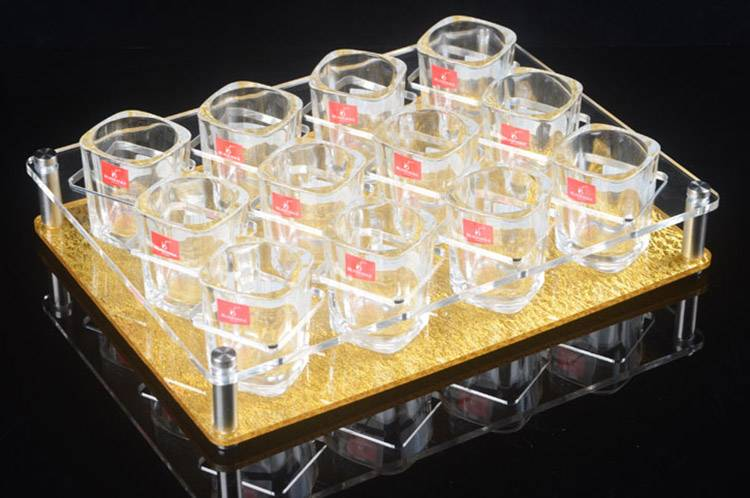 12 Holes Liquor Cup Rack Acrylic 3 Rows Wine Glass Cup Holder XH52-6