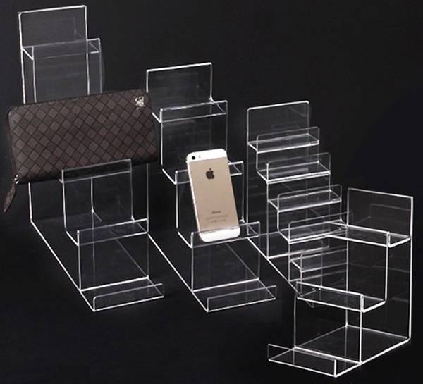 4-tier Clear Acrylic Wallet Display Stand Holder Purse Display Stand