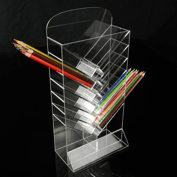 Acrylic Clear Office Home Desk Top Pen Holder 7-Tier Display Stand XH62-1