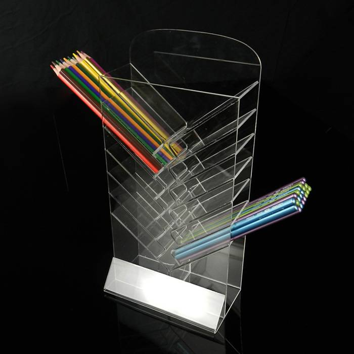 Acrylic Clear Office Home Desk Top Pen Holder 7-Tier Display Stand