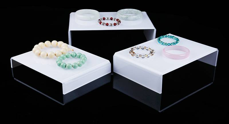 Acrylic Plexiglass Clear Riser Set of Three with Jewelry Showcase Fixtures
