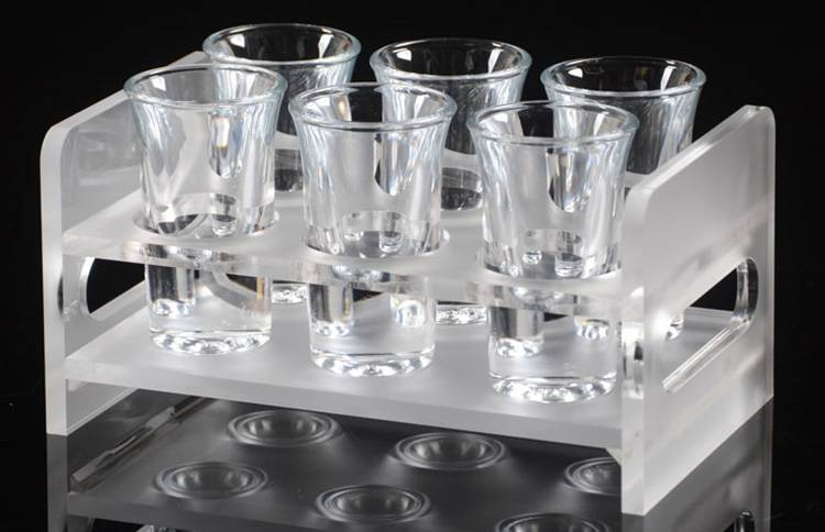 Frosted Acrylic 2 Rows 6 Round Holes Wine Glass Cup Holder XH57-4