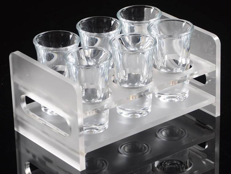 Frosted Acrylic 2 Rows 6 Round Holes Wine Glass Cup Holder XH57-6