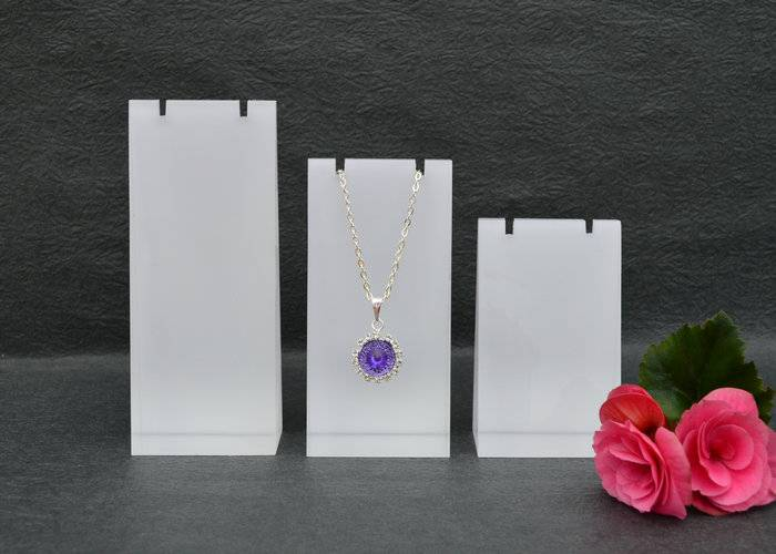 Frosted Acrylic Block Necklace Display Stand Matte Acrylic Jewelry Set XH0038-1