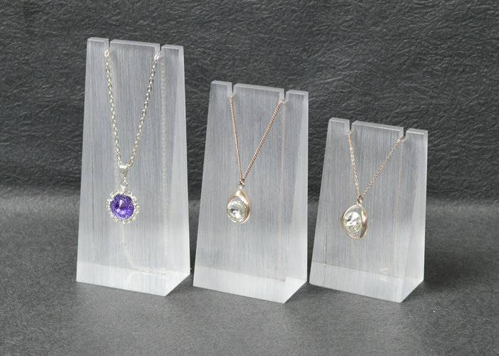 Frosted Acrylic Block Necklace Display Stand Matte Acrylic Jewelry Set XH0038-4
