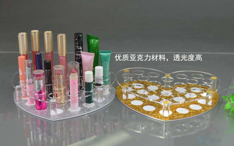 Heart Shape Acrylic Lipstick Display Stand, Acrylic Makeup Display Stand