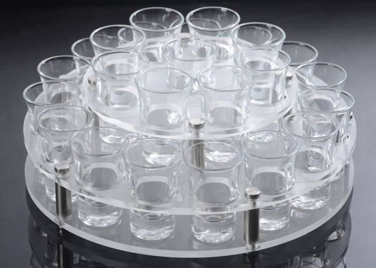 Round Holes 2 Tiers Acrylic Drinks Wine Cup Holder Tray XH56-1