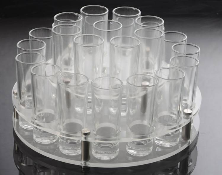Round Holes 2 Tiers Acrylic Drinks Wine Cup Holder Tray XH56-5