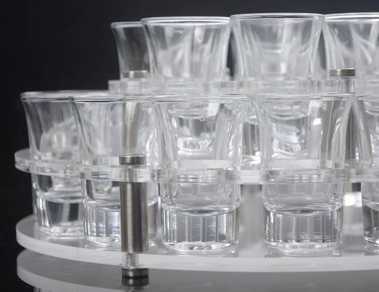 Round Holes 2 Tiers Acrylic Drinks Wine Cup Holder Tray XH56-6