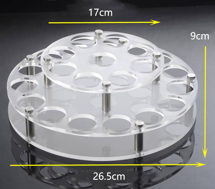 Round Holes 2 Tiers Acrylic Drinks Wine Cup Holder Tray XH56-7