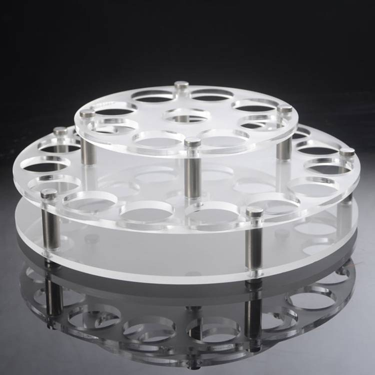 Round Holes 2 Tiers Acrylic Drinks Wine Cup Holder Tray