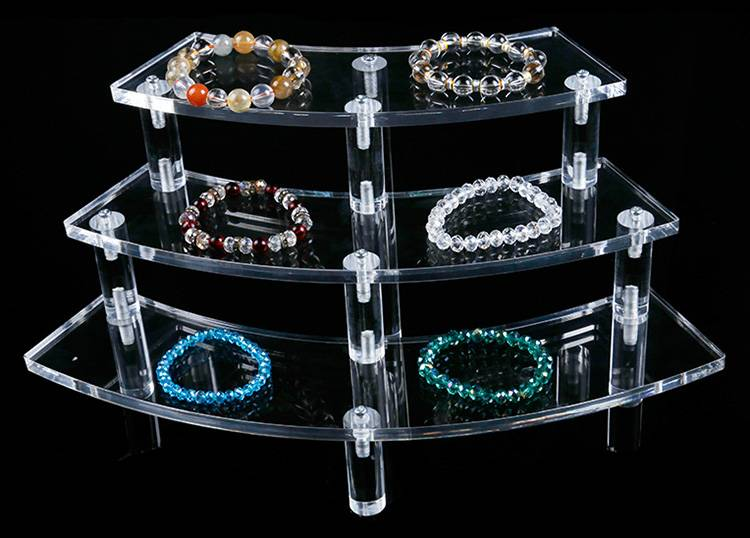 Tabletop 3 Step Acrylic Riser Clear for Jewelry display / Makeup Storage