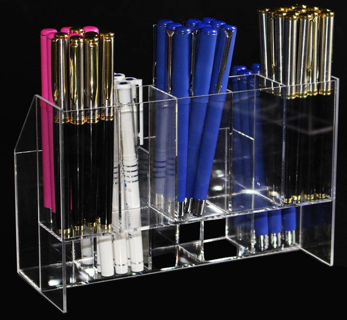 Tabletop Clear 2 Tier Acrylic Brush Holder Organizer Rack