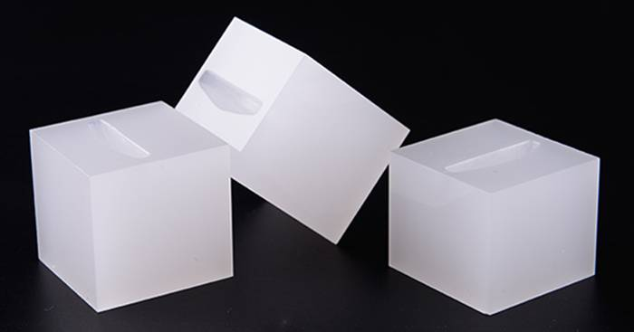 White Acrylic Slotted Block Jewelry Hand Ring Holder XH34-1