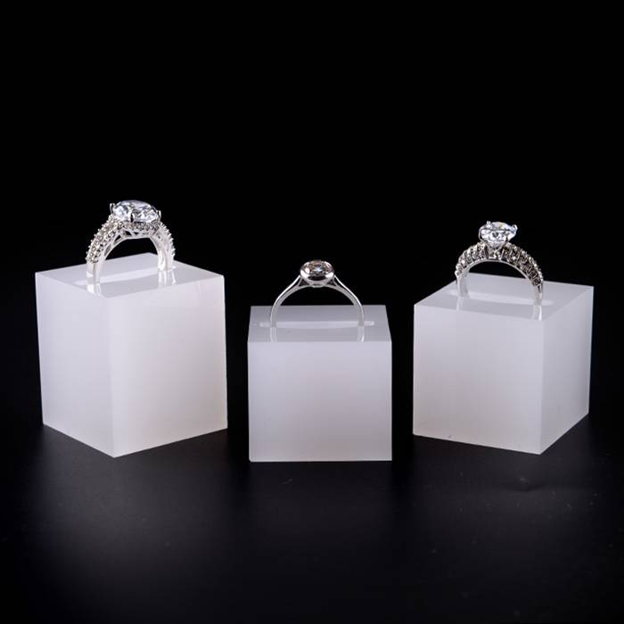 White Acrylic Slotted Block Jewelry Hand Ring Holder